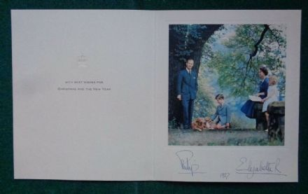 Antique Hand Signed Christmas Card from Queen Elizabeth II Prince Philip 1957